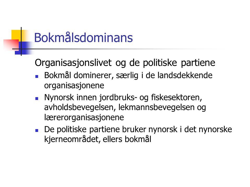 Bokmålsdominans Organisasjonslivet og de politiske partiene  Bokmål dominerer, særlig i de landsdekkende organisasjonene  Nynorsk innen jordbruks- o