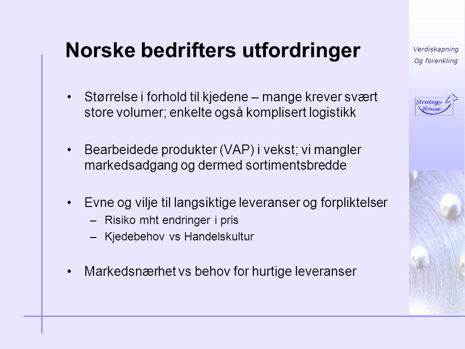 Verdiskapning Og forenkling Norske bedrifters utfordringer •Størrelse i forhold til kjedene – mange krever svært store volumer; enkelte også kompliser