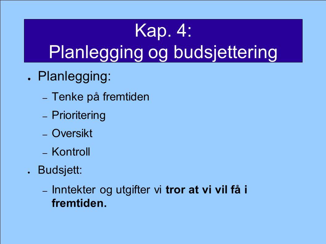 Kap. 4: Planlegging og budsjettering ● Planlegging: – Tenke på fremtiden – Prioritering – Oversikt – Kontroll ● Budsjett: – Inntekter og utgifter vi t