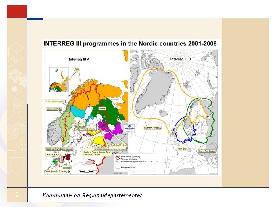 Interreg 2007 - 2013 •7,5 mrd.Euro til fremtidig territorielt samarbeid.