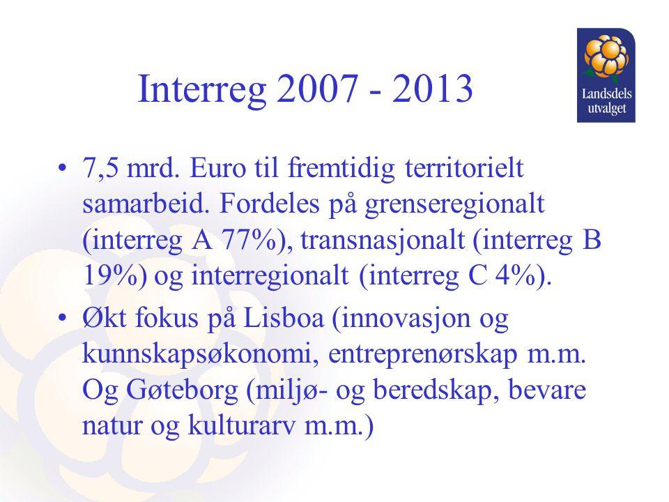 Interreg 2007 - 2013 •7,5 mrd. Euro til fremtidig territorielt samarbeid. Fordeles på grenseregionalt (interreg A 77%), transnasjonalt (interreg B 19%
