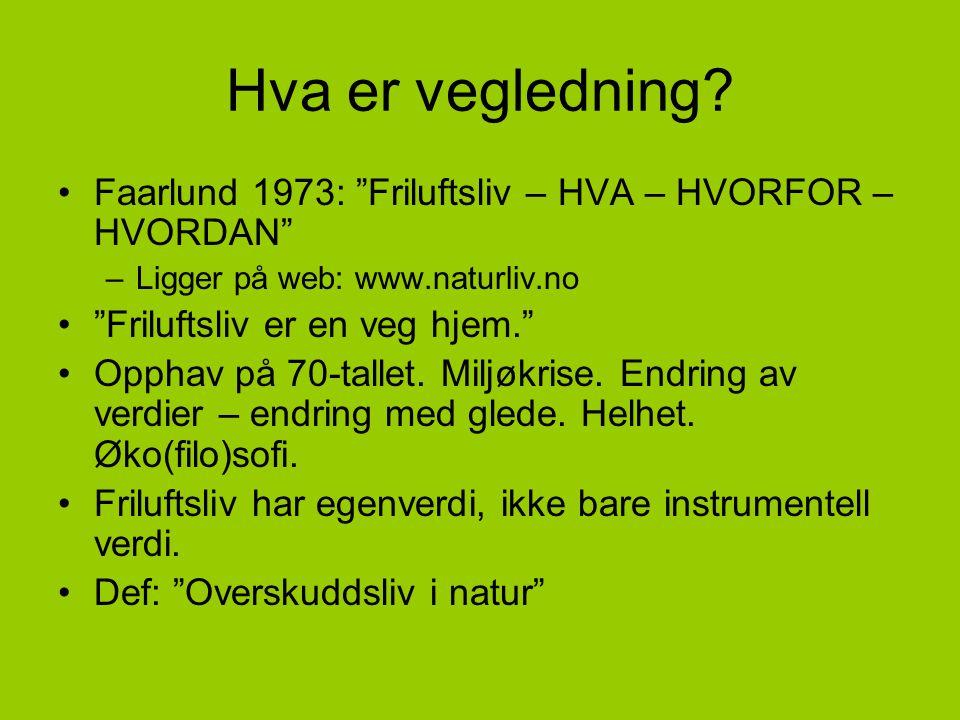 "Hva er vegledning? •Faarlund 1973: ""Friluftsliv – HVA – HVORFOR – HVORDAN"" –Ligger på web: www.naturliv.no •""Friluftsliv er en veg hjem."" •Opphav på 7"