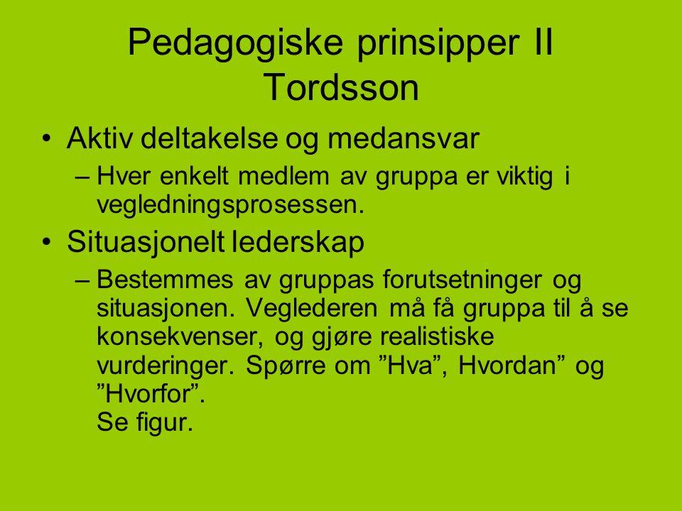 Pedagogiske prinsipper II Tordsson •Aktiv deltakelse og medansvar –Hver enkelt medlem av gruppa er viktig i vegledningsprosessen. •Situasjonelt leders