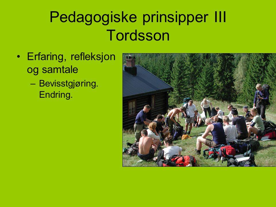Pedagogiske prinsipper III Tordsson •Erfaring, refleksjon og samtale –Bevisstgjøring. Endring.