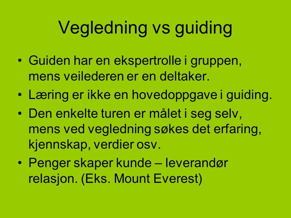 Vegledning vs guiding •Guiden har en ekspertrolle i gruppen, mens veilederen er en deltaker. •Læring er ikke en hovedoppgave i guiding. •Den enkelte t