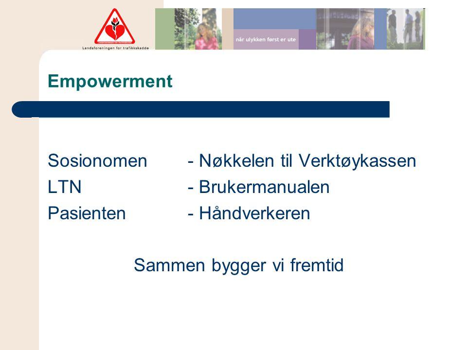 Empowerment Sosionomen- Nøkkelen til Verktøykassen LTN - Brukermanualen Pasienten - Håndverkeren Sammen bygger vi fremtid