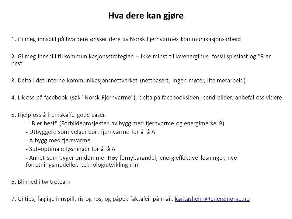Hva dere kan gjøre 1. Gi meg innspill på hva dere ønsker dere av Norsk Fjernvarmes kommunikasjonsarbeid 2. Gi meg innspill til kommunikasjonsstrategie