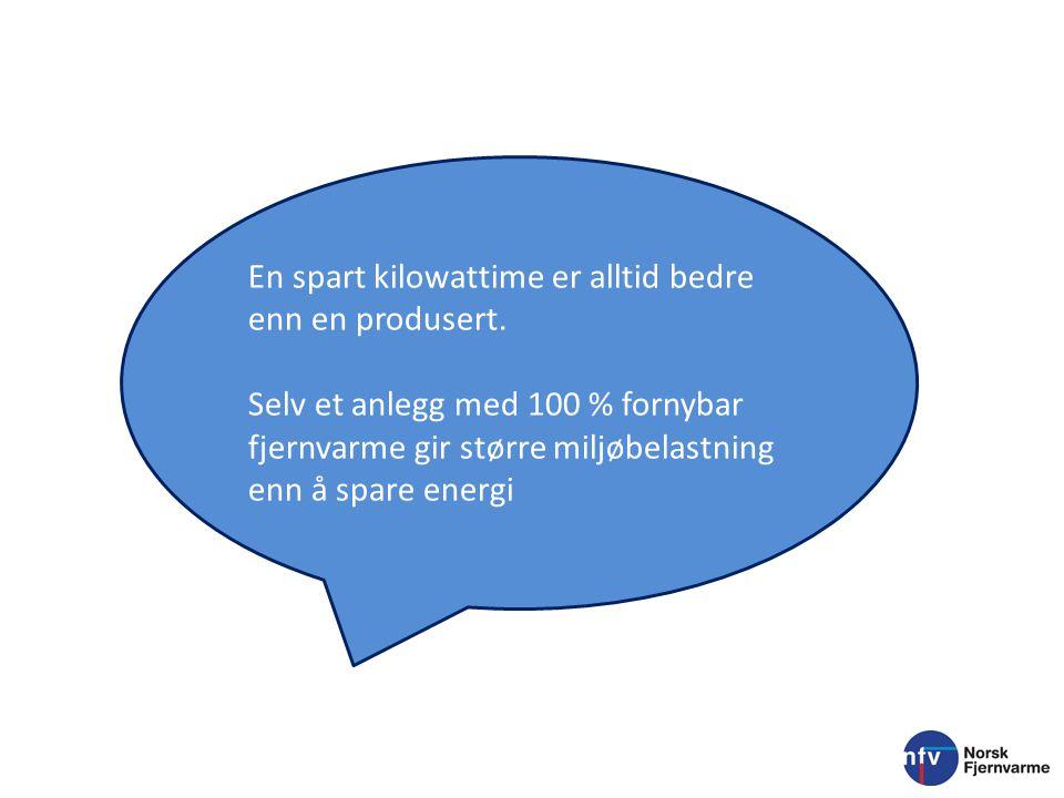 En spart kilowattime er alltid bedre enn en produsert. Selv et anlegg med 100 % fornybar fjernvarme gir større miljøbelastning enn å spare energi