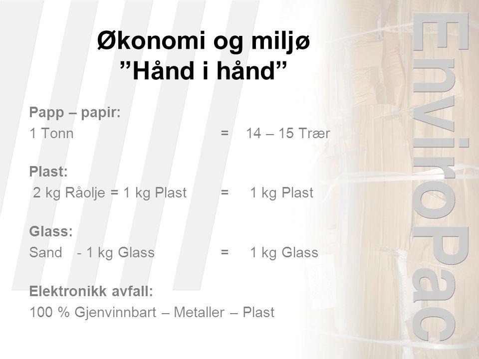 Økonomi og miljø Hånd i hånd Papp – papir: 1 Tonn = 14 – 15 Trær Plast: 2 kg Råolje = 1 kg Plast= 1 kg Plast Glass: Sand- 1 kg Glass= 1 kg Glass Elektronikk avfall: 100 % Gjenvinnbart – Metaller – Plast