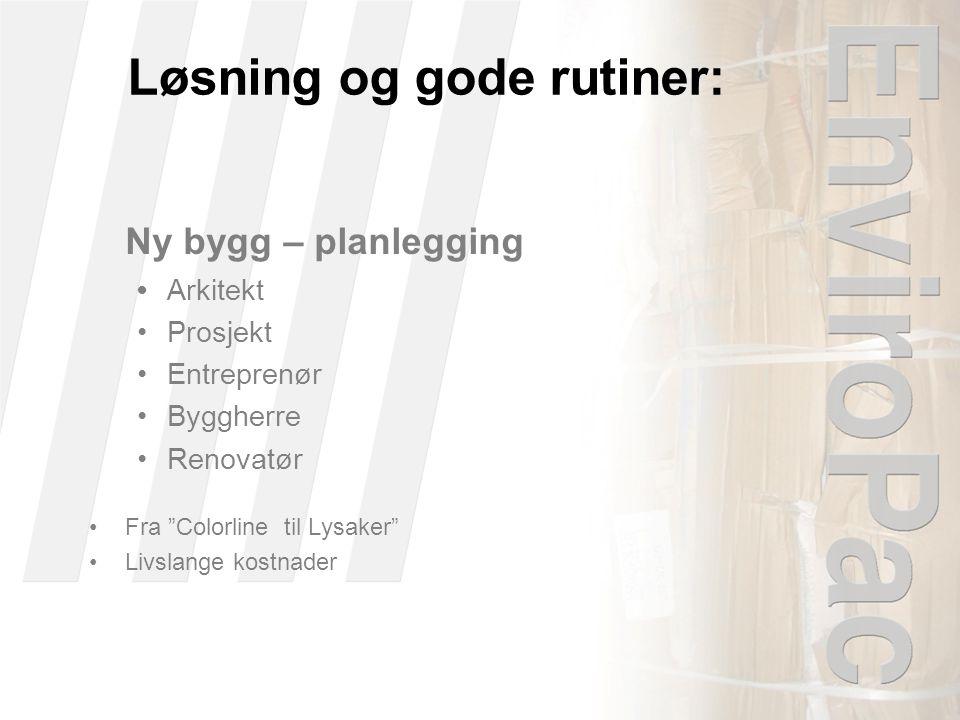 Løsning og gode rutiner: Ny bygg – planlegging •Arkitekt •Prosjekt •Entreprenør •Byggherre •Renovatør •Fra Colorline til Lysaker •Livslange kostnader