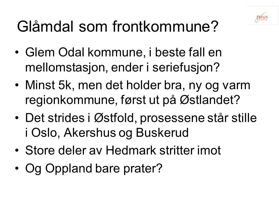 Glåmdal som frontkommune.•Glem Odal kommune, i beste fall en mellomstasjon, ender i seriefusjon.