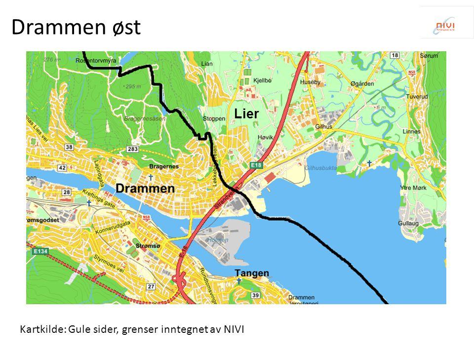 Kartkilde: Gule sider, grenser inntegnet av NIVI Drammen vest