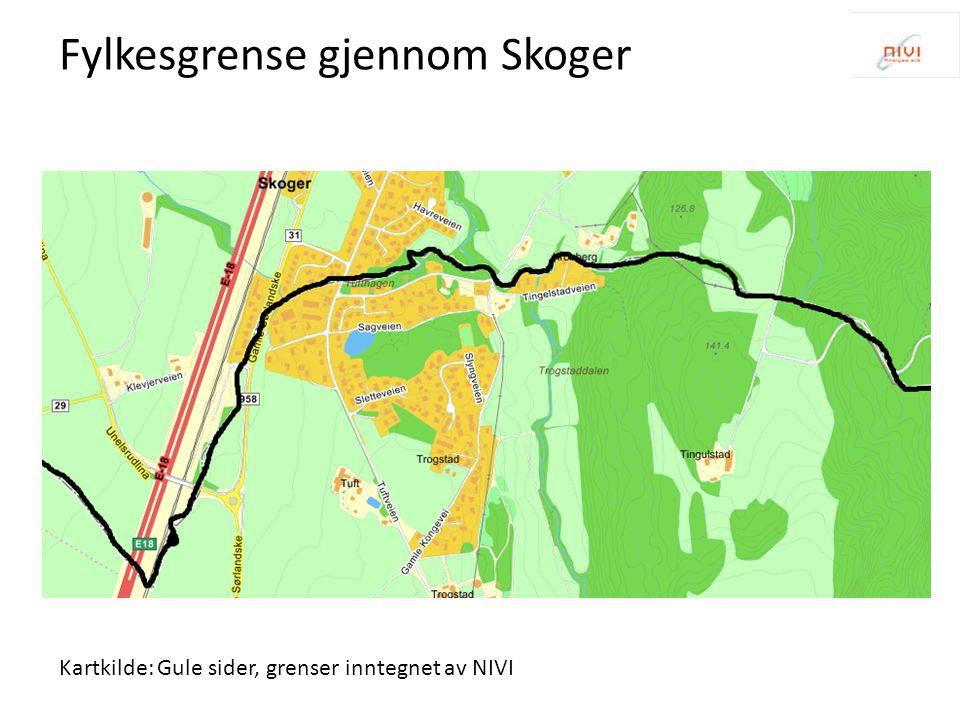 Kartkilde: Gule sider, grenser inntegnet av NIVI Fylkesgrense gjennom Skoger