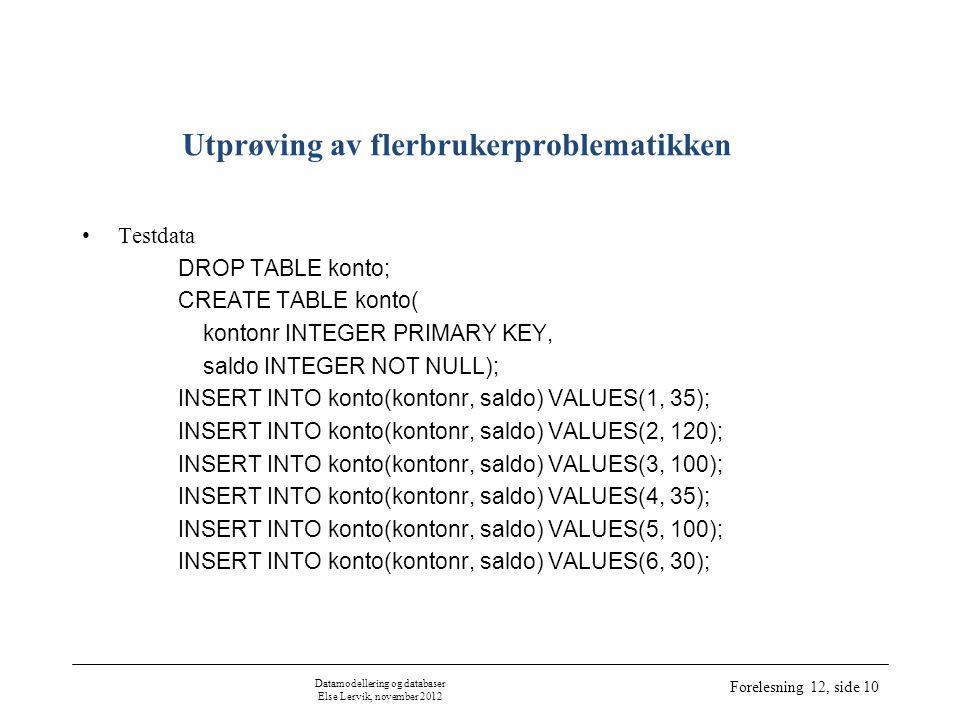 Datamodellering og databaser Else Lervik, november 2012 Forelesning 12, side 10 Utprøving av flerbrukerproblematikken •Testdata DROP TABLE konto; CREATE TABLE konto( kontonr INTEGER PRIMARY KEY, saldo INTEGER NOT NULL); INSERT INTO konto(kontonr, saldo) VALUES(1, 35); INSERT INTO konto(kontonr, saldo) VALUES(2, 120); INSERT INTO konto(kontonr, saldo) VALUES(3, 100); INSERT INTO konto(kontonr, saldo) VALUES(4, 35); INSERT INTO konto(kontonr, saldo) VALUES(5, 100); INSERT INTO konto(kontonr, saldo) VALUES(6, 30);