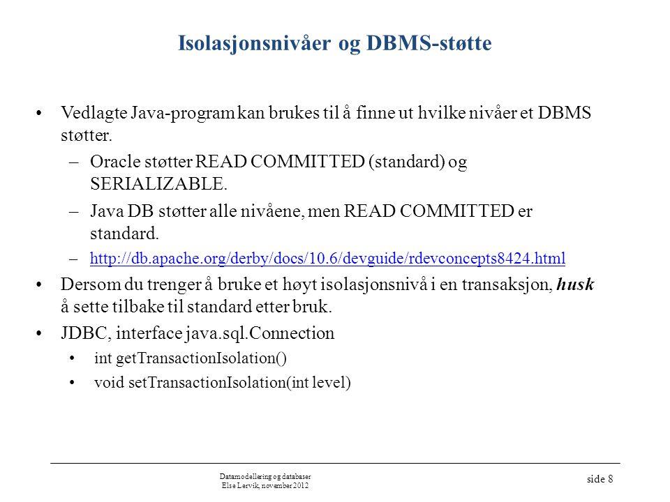 Datamodellering og databaser Else Lervik, november 2012 side 8 •Vedlagte Java-program kan brukes til å finne ut hvilke nivåer et DBMS støtter.