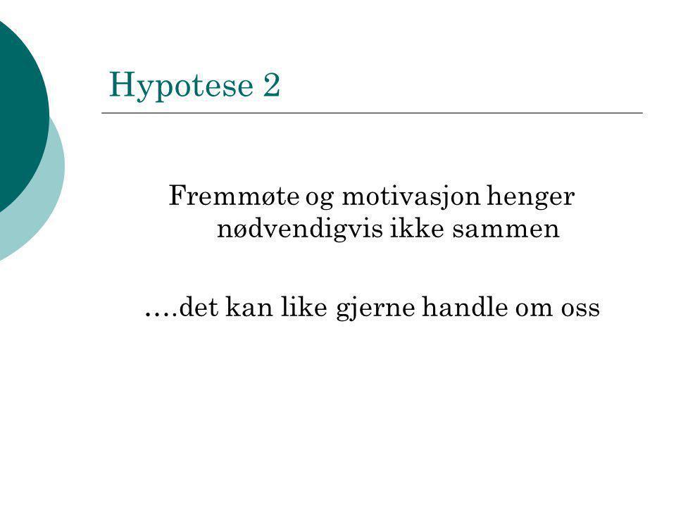 Hypotese 2 Fremmøte og motivasjon henger nødvendigvis ikke sammen ….det kan like gjerne handle om oss