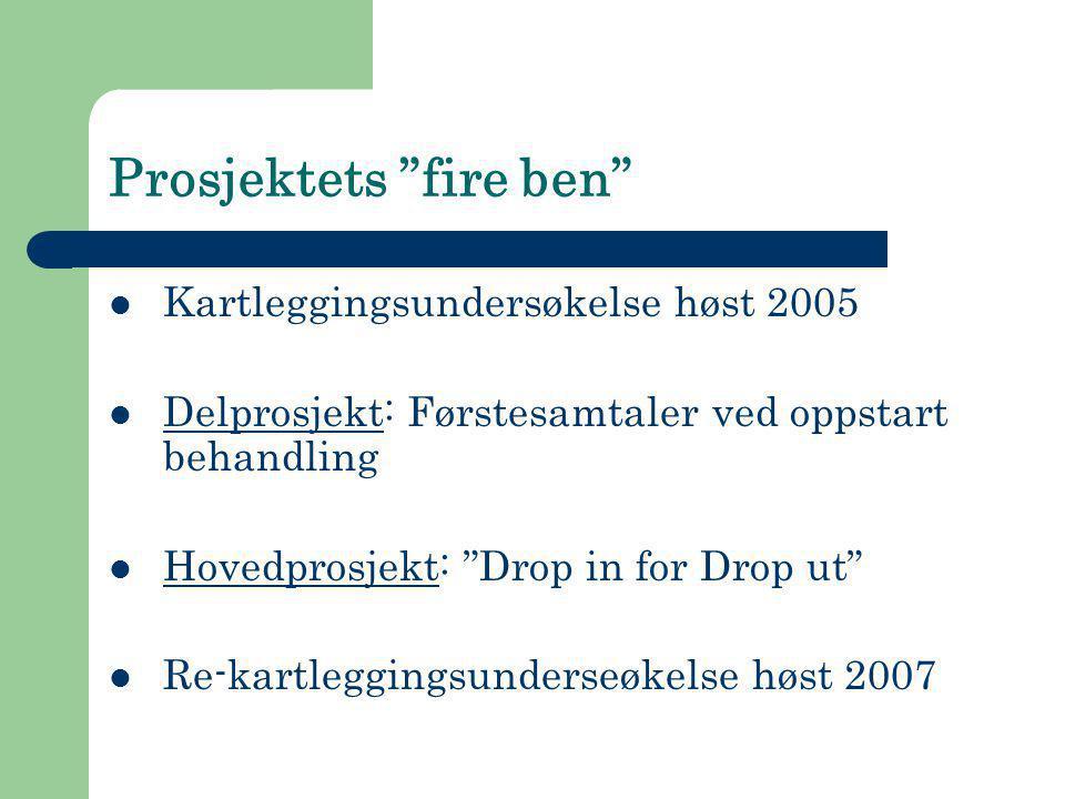 """Prosjektets """"fire ben""""  Kartleggingsundersøkelse høst 2005  Delprosjekt: Førstesamtaler ved oppstart behandling  Hovedprosjekt: """"Drop in for Drop u"""