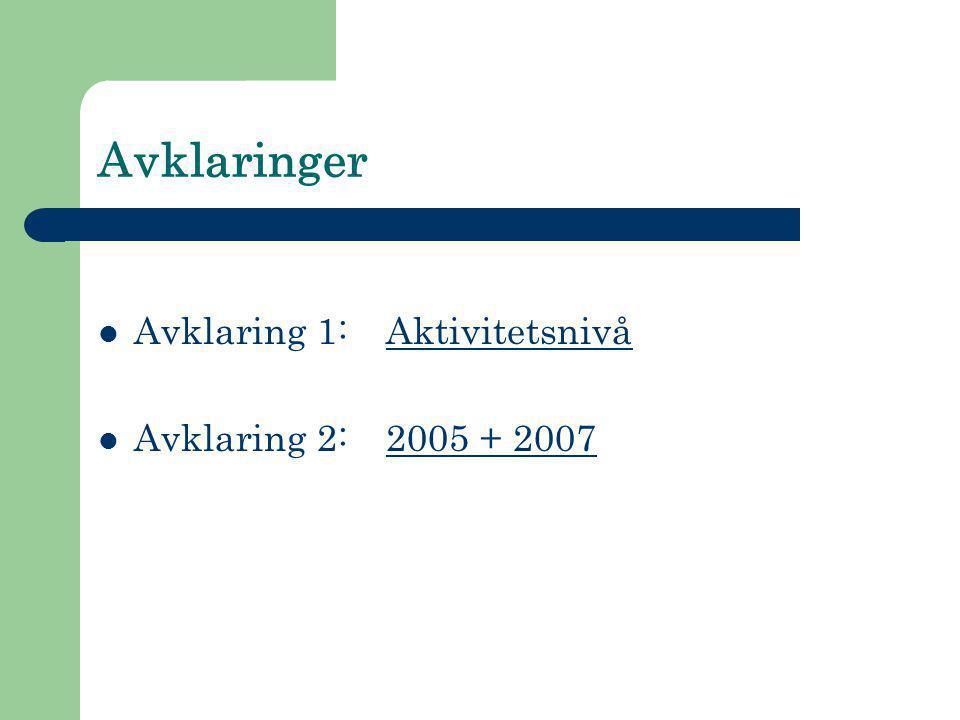Avklaringer  Avklaring 1: Aktivitetsnivå  Avklaring 2:2005 + 2007