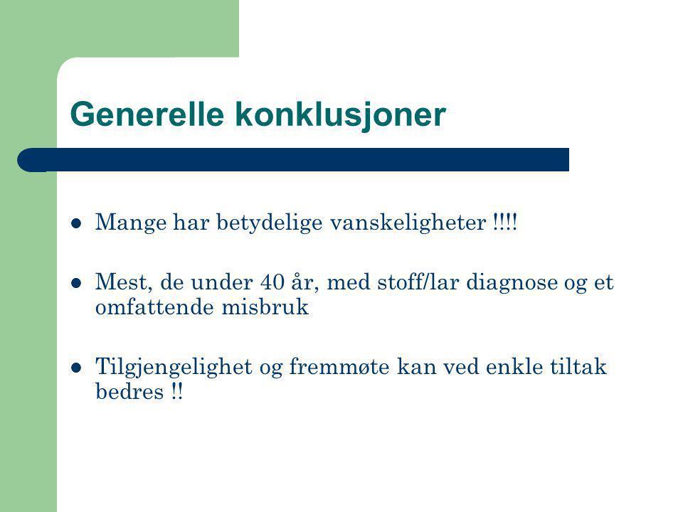 Generelle konklusjoner  Mange har betydelige vanskeligheter !!!!  Mest, de under 40 år, med stoff/lar diagnose og et omfattende misbruk  Tilgjengel