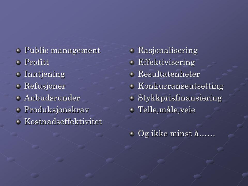 Public management ProfittInntjeningRefusjonerAnbudsrunderProduksjonskravKostnadseffektivitetRasjonaliseringEffektiviseringResultatenheterKonkurranseut