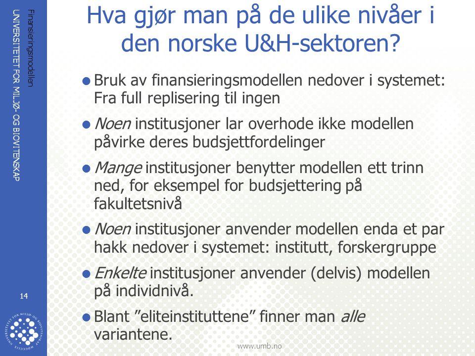 UNIVERSITETET FOR MILJØ- OG BIOVITENSKAP www.umb.no Finansieringsmodellen 14 Hva gjør man på de ulike nivåer i den norske U&H-sektoren.