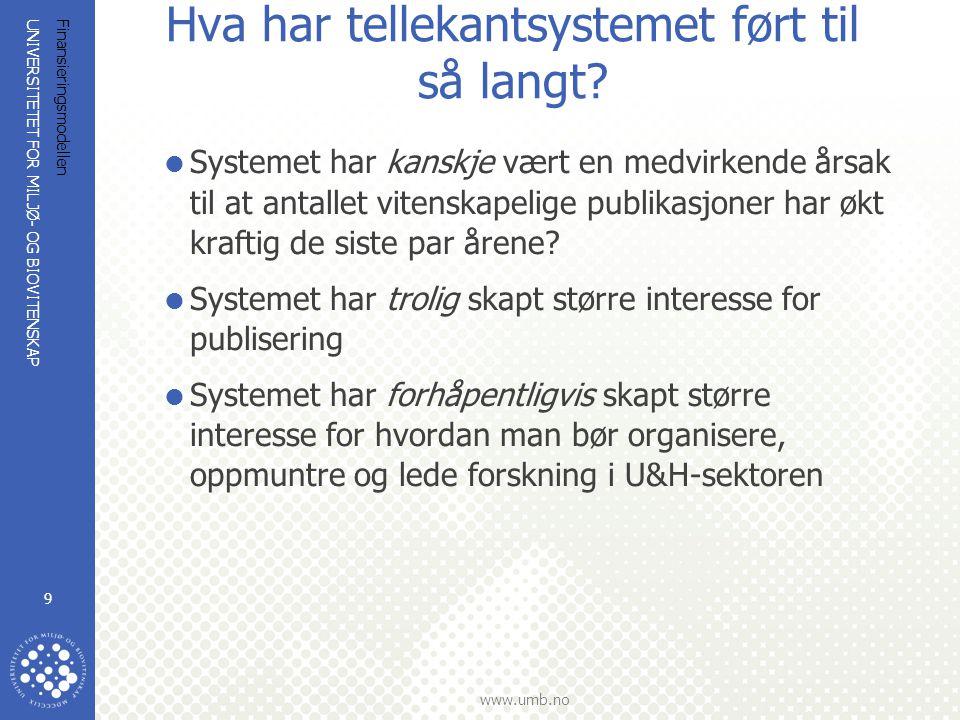 UNIVERSITETET FOR MILJØ- OG BIOVITENSKAP www.umb.no Finansieringsmodellen 9 Hva har tellekantsystemet ført til så langt.