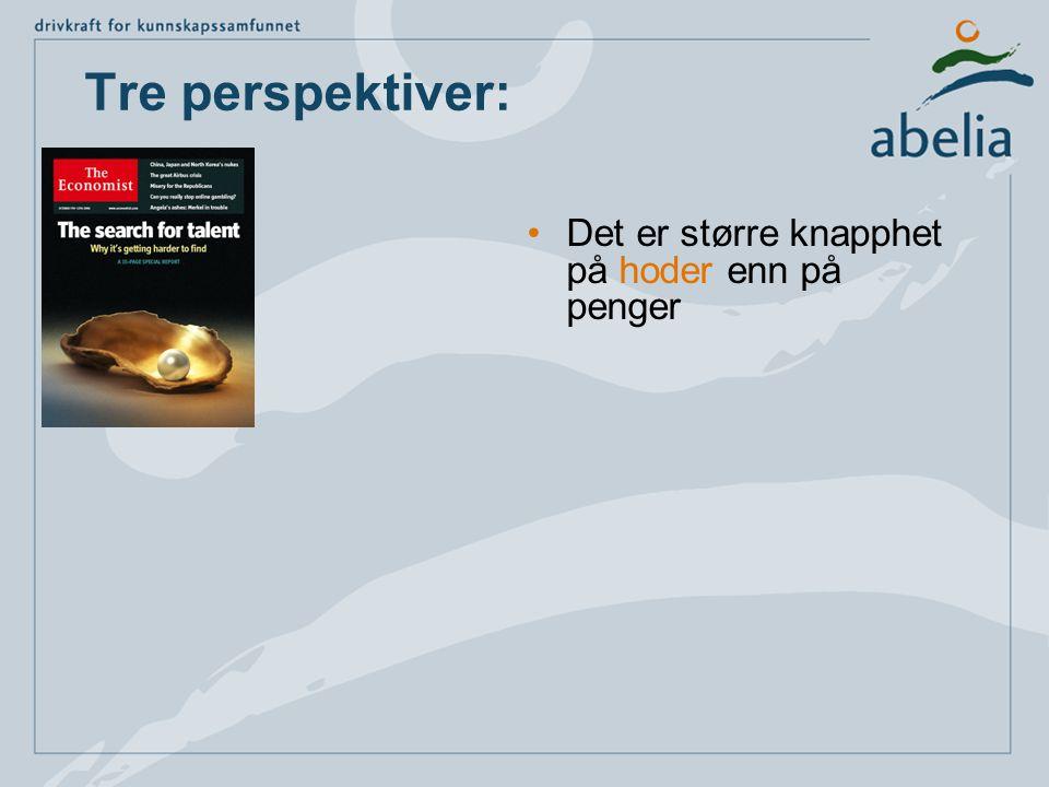 Tre perspektiver: •Det er større knapphet på hoder enn på penger