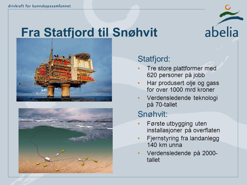 Fra Statfjord til Snøhvit Statfjord: •Tre store plattformer med 620 personer på jobb •Har produsert olje og gass for over 1000 mrd kroner •Verdenslede