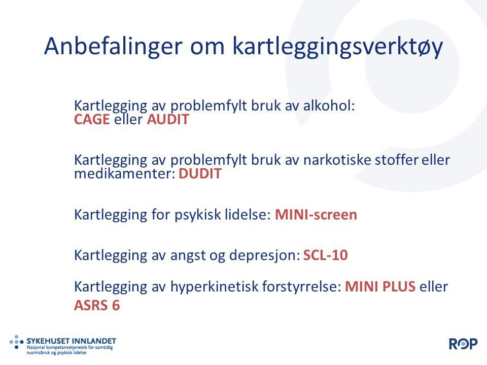 Kartlegging av problemfylt bruk av alkohol: CAGE eller AUDIT Kartlegging av problemfylt bruk av narkotiske stoffer eller medikamenter: DUDIT Kartleggi