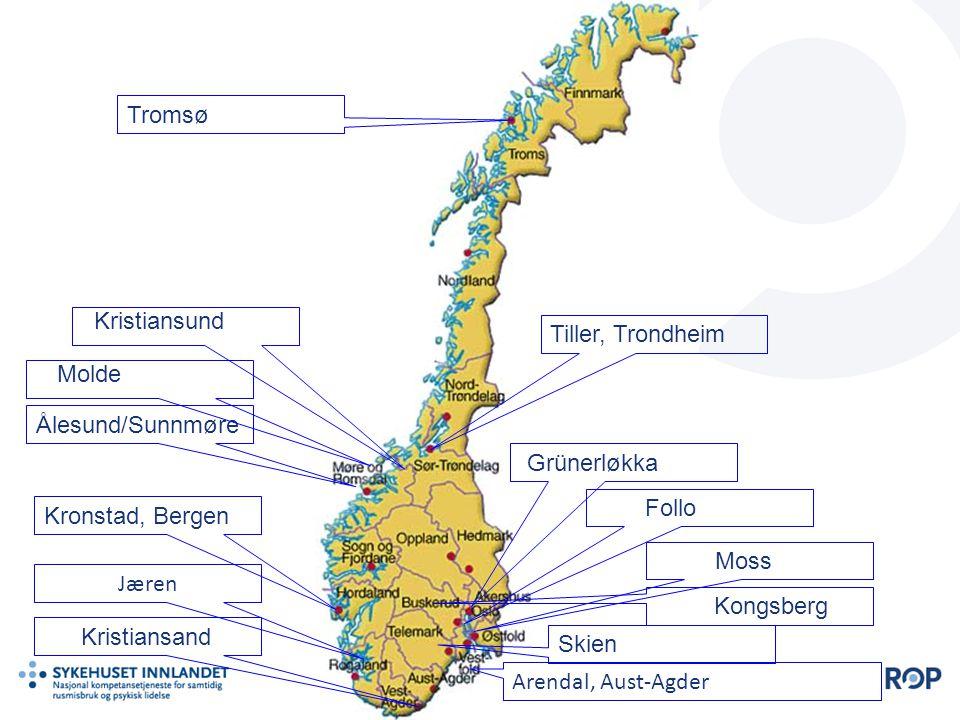 Arendal, Aust-Agder Grünerløkka Tiller, Trondheim Kristiansand Ålesund/Sunnmøre Skien Tromsø Kronstad, Bergen Moss Follo Jæren Kongsberg Kristiansund Molde