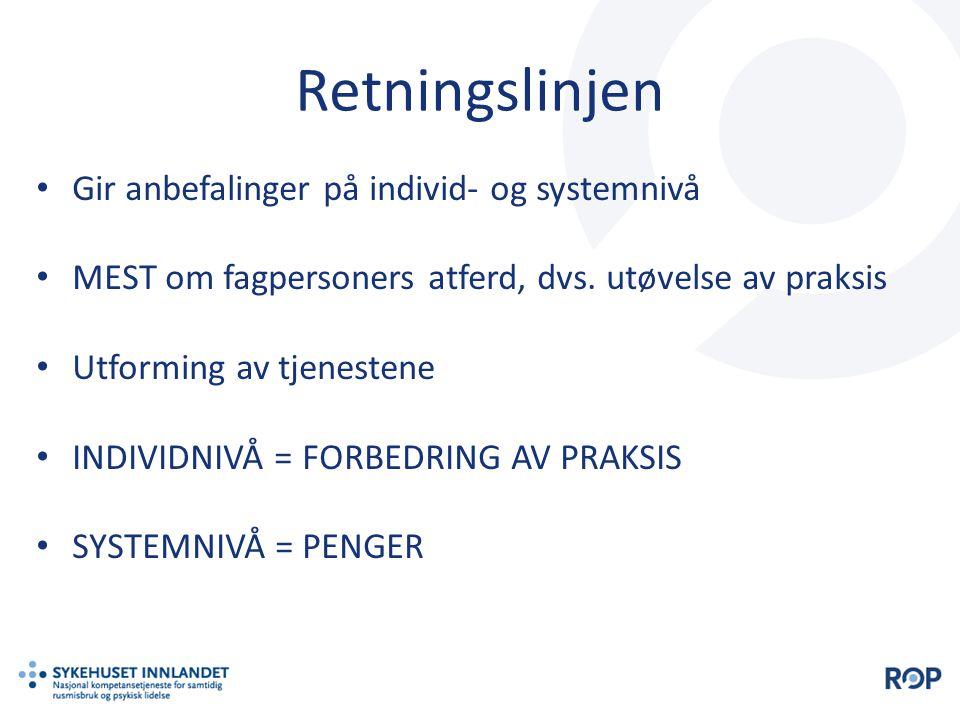 Retningslinjen • Gir anbefalinger på individ- og systemnivå • MEST om fagpersoners atferd, dvs. utøvelse av praksis • Utforming av tjenestene • INDIVI