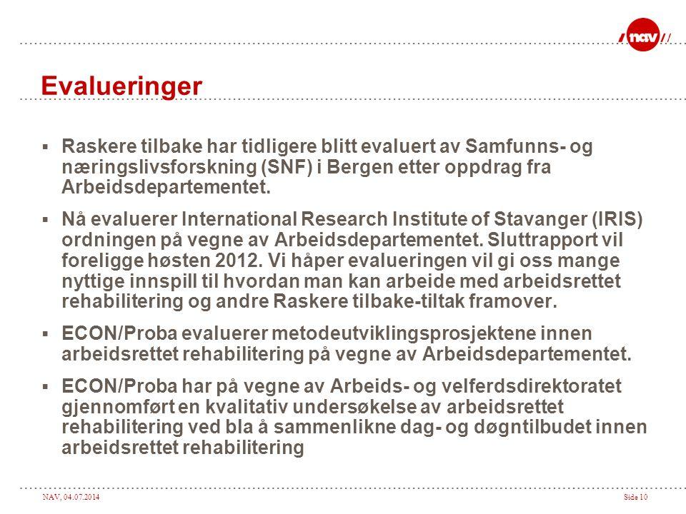 NAV, 04.07.2014Side 10 Evalueringer  Raskere tilbake har tidligere blitt evaluert av Samfunns- og næringslivsforskning (SNF) i Bergen etter oppdrag fra Arbeidsdepartementet.