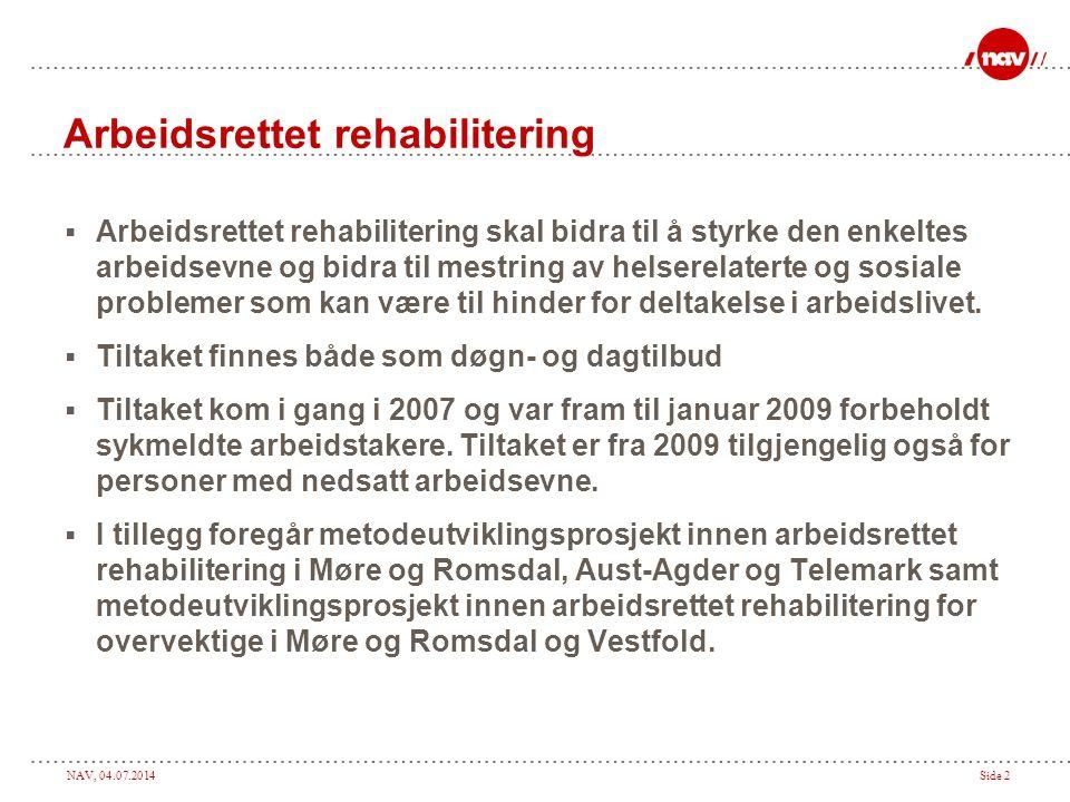 NAV, 04.07.2014Side 2 Arbeidsrettet rehabilitering  Arbeidsrettet rehabilitering skal bidra til å styrke den enkeltes arbeidsevne og bidra til mestring av helserelaterte og sosiale problemer som kan være til hinder for deltakelse i arbeidslivet.