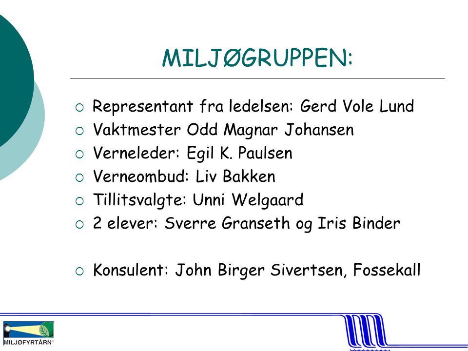 MILJØGRUPPEN:  Representant fra ledelsen: Gerd Vole Lund  Vaktmester Odd Magnar Johansen  Verneleder: Egil K.
