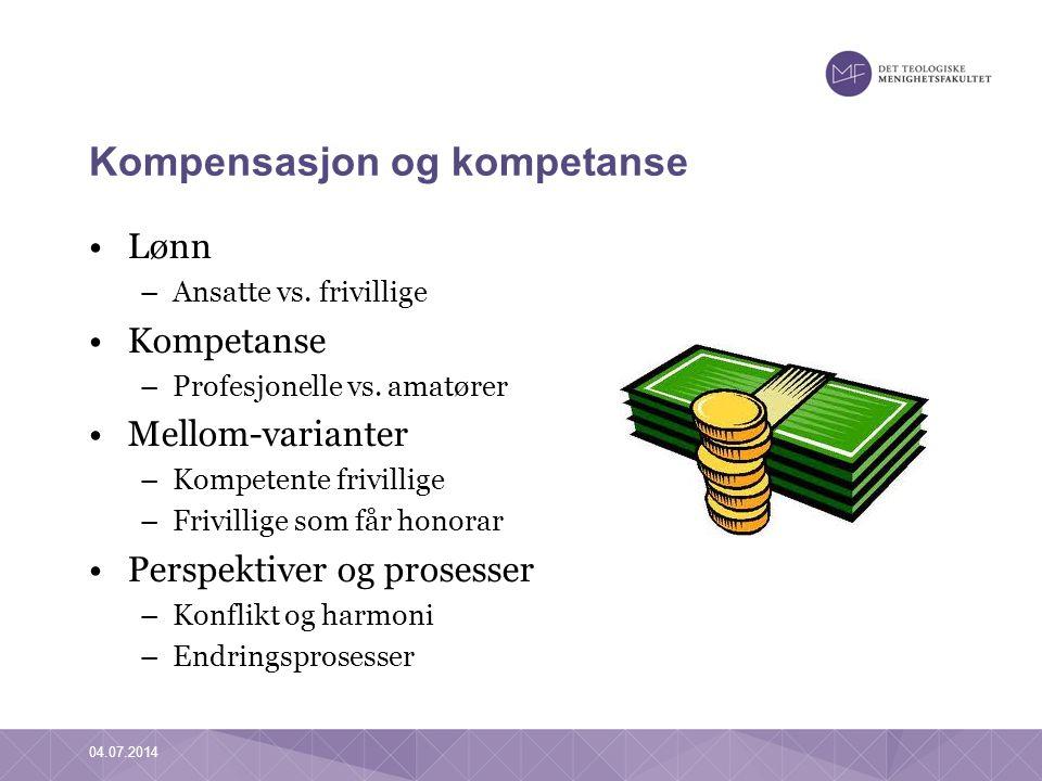 Kompensasjon og kompetanse •Lønn –Ansatte vs. frivillige •Kompetanse –Profesjonelle vs. amatører •Mellom-varianter –Kompetente frivillige –Frivillige