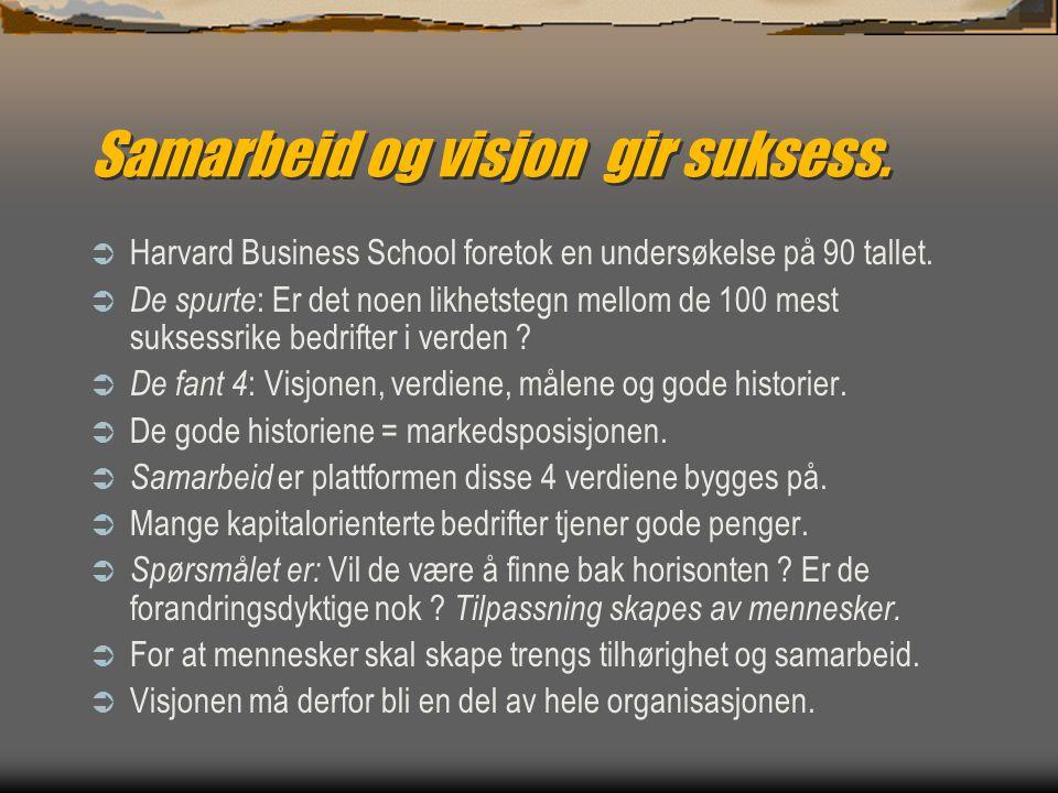 Samarbeid og visjon gir suksess.  Harvard Business School foretok en undersøkelse på 90 tallet.