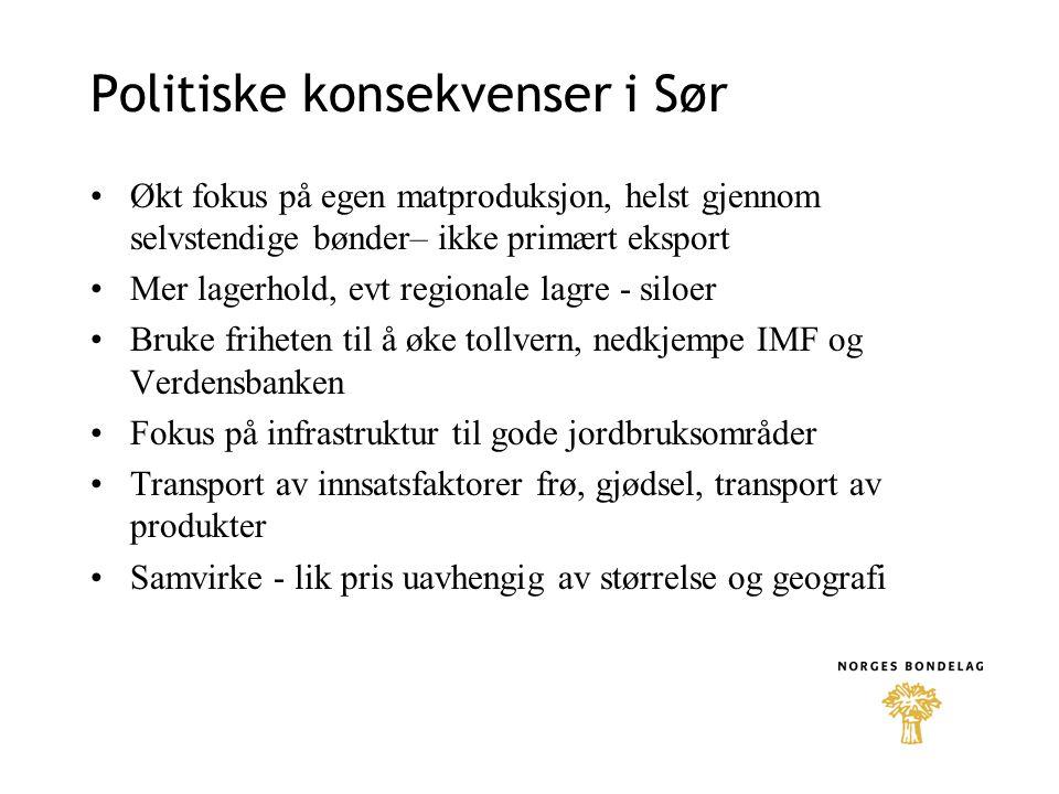 Politiske konsekvenser Norge •Mer fokus på nasjonal produksjon •Mer lagerhold •Mer landbruk i bistandspolitikken •Bedre lønnsomhet i landbruket - mer marked mindre støtte.