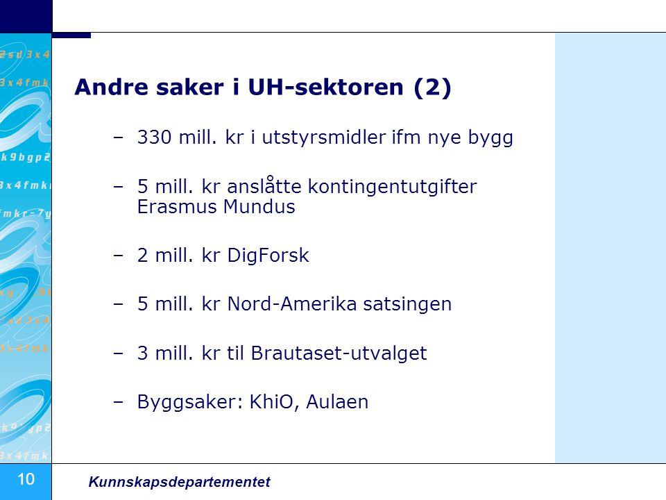 10 Kunnskapsdepartementet Andre saker i UH-sektoren (2) –330 mill. kr i utstyrsmidler ifm nye bygg –5 mill. kr anslåtte kontingentutgifter Erasmus Mun