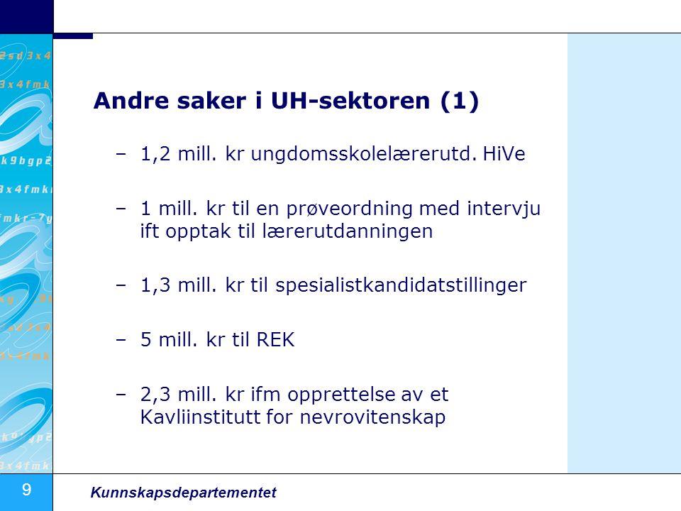 9 Kunnskapsdepartementet Andre saker i UH-sektoren (1) –1,2 mill. kr ungdomsskolelærerutd. HiVe –1 mill. kr til en prøveordning med intervju ift oppta