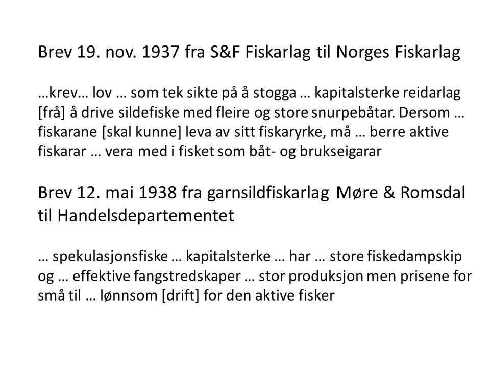 Landsmøte Norges Fiskarlag 1941 … øvrige næringer … er … lovbeskyttet og har sine monopoler.