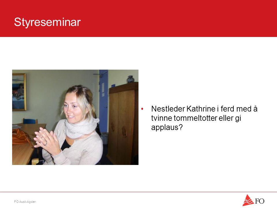 FO Aust-Agder Styreseminar •Nestleder Kathrine i ferd med å tvinne tommeltotter eller gi applaus
