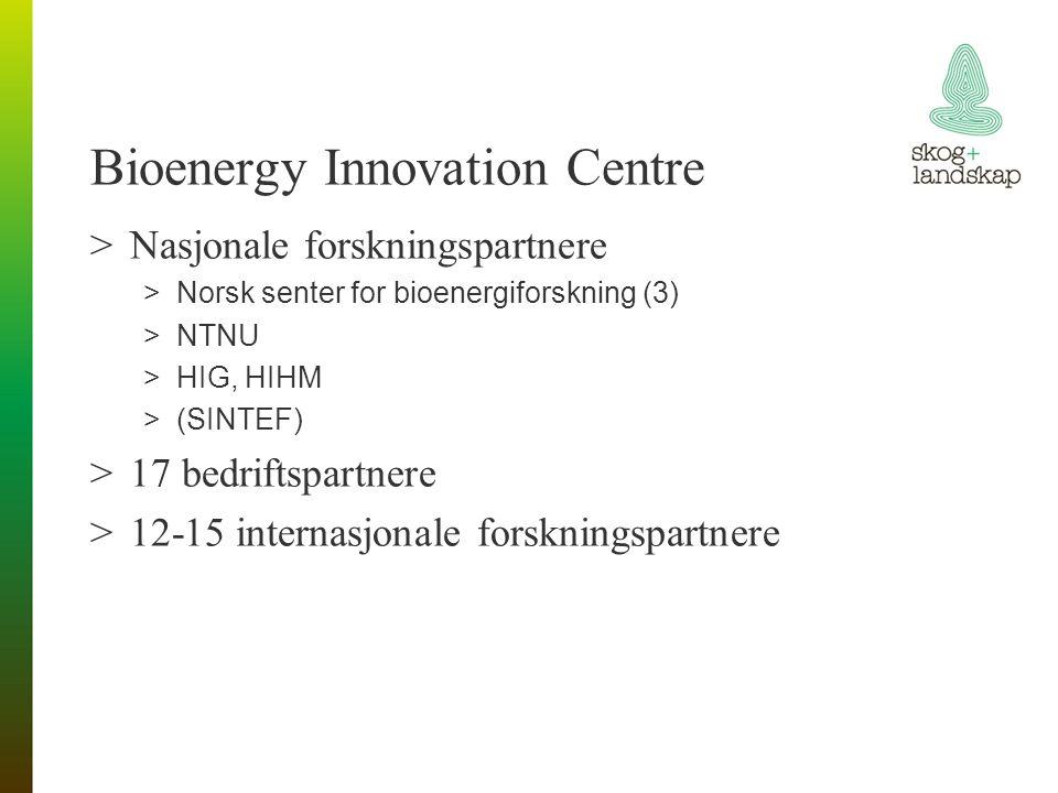 Bioenergy Innovation Centre >Nasjonale forskningspartnere >Norsk senter for bioenergiforskning (3) >NTNU >HIG, HIHM >(SINTEF) >17 bedriftspartnere >12-15 internasjonale forskningspartnere