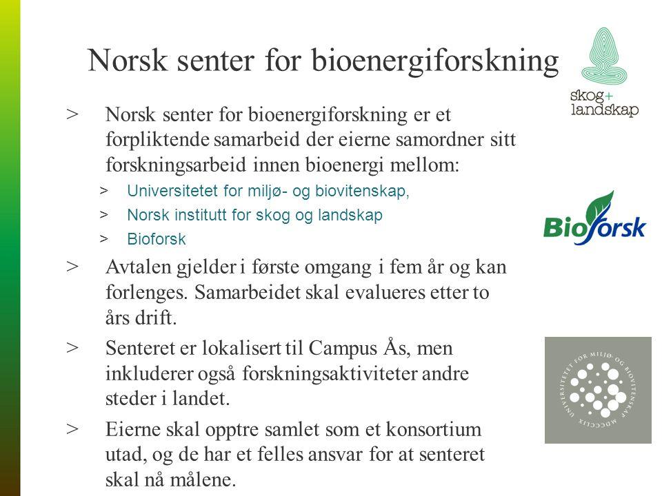 Norsk senter for bioenergiforskning >Norsk senter for bioenergiforskning er et forpliktende samarbeid der eierne samordner sitt forskningsarbeid innen bioenergi mellom: >Universitetet for miljø- og biovitenskap, >Norsk institutt for skog og landskap >Bioforsk >Avtalen gjelder i første omgang i fem år og kan forlenges.