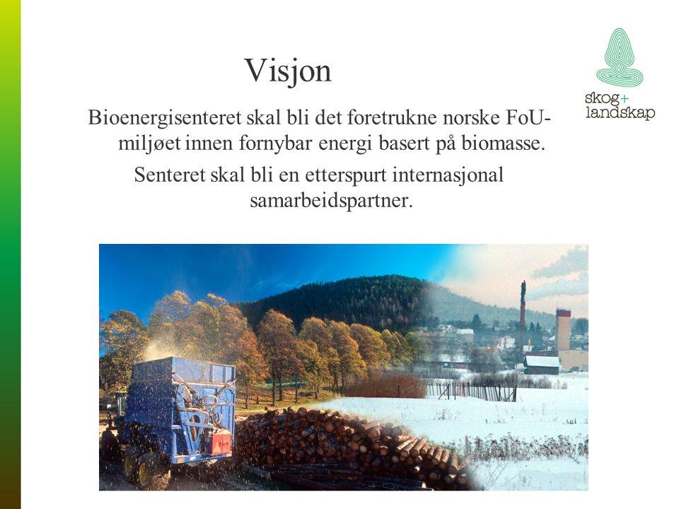 Visjon Bioenergisenteret skal bli det foretrukne norske FoU- miljøet innen fornybar energi basert på biomasse.