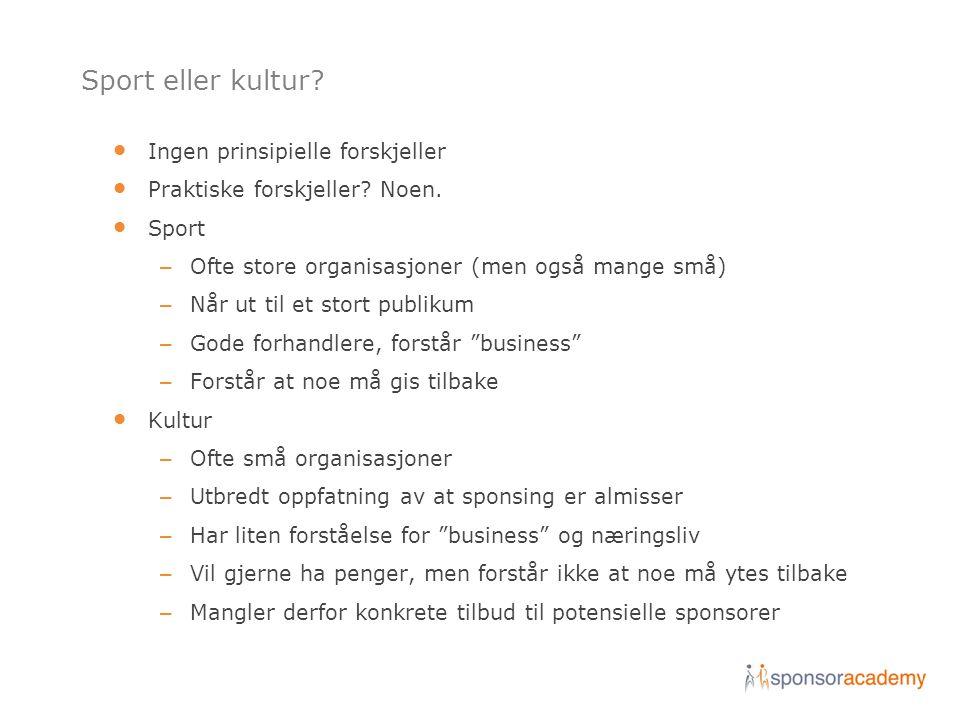 Sport eller kultur? • Ingen prinsipielle forskjeller • Praktiske forskjeller? Noen. • Sport – Ofte store organisasjoner (men også mange små) – Når ut