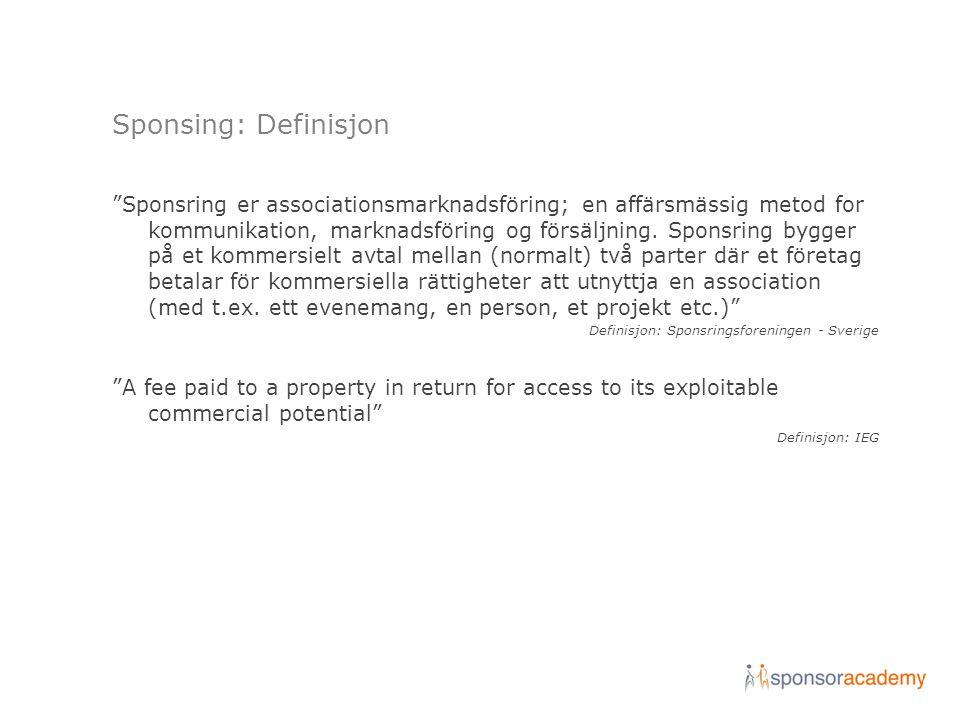 "Sponsing: Definisjon ""Sponsring er associationsmarknadsföring; en affärsmässig metod for kommunikation, marknadsföring og försäljning. Sponsring bygge"
