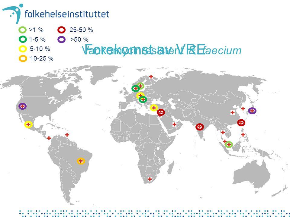 • Verdenskart – hvor kan man få utført tjenestene Forekomst av VRE >1 % 1-5 % 5-10 % 10-25 % 25-50 % >50 % Vankomycinresistent E. faecium