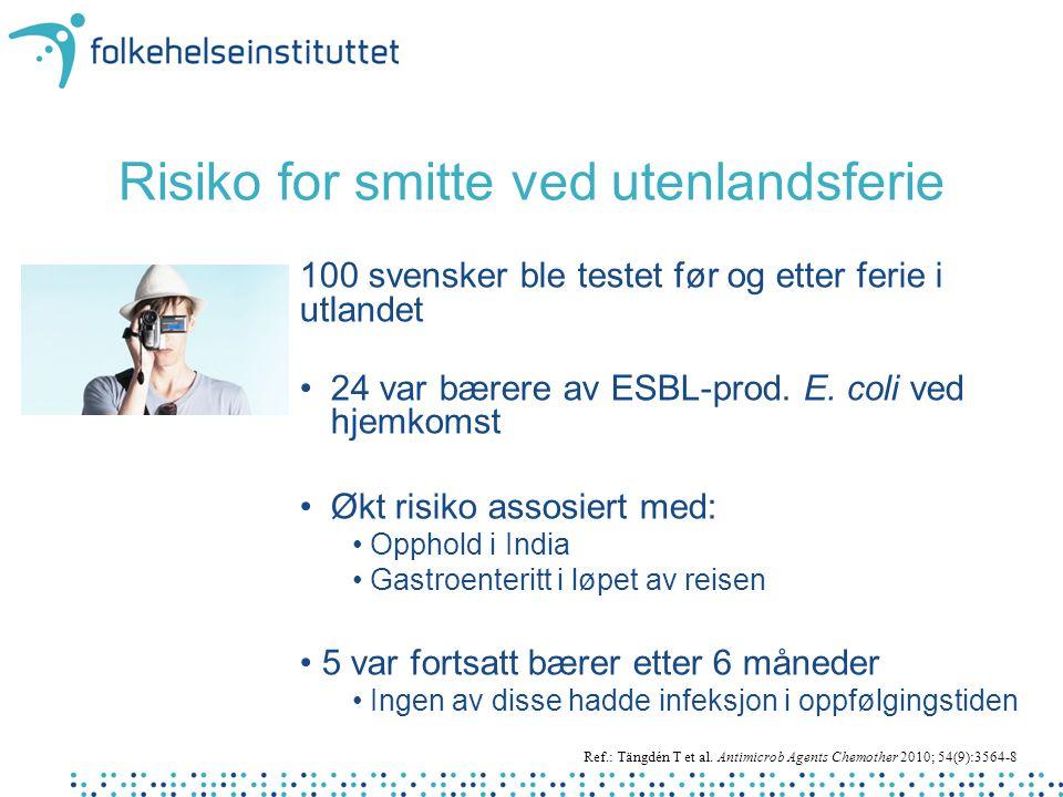 Risiko for smitte ved utenlandsferie 100 svensker ble testet før og etter ferie i utlandet • 24 var bærere av ESBL-prod. E. coli ved hjemkomst • Økt r