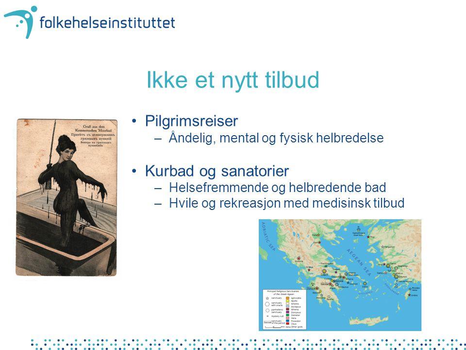 Helseturisme i dag • Helsefremmende ferier –Ferie med vekt på helsefremmende aktiviteter • Behandlingsreiser –Bedring av kronisk sykdom • Behandling som ikke refunderes av den Norske stat –Tannbehandling, synskorrigering, kosmetisk kirurgi • Behandling som refunderes i Norge –Medisinsk behandling man har rett på i Norge • Behandling som er ulovlig i Norge –Tilbud som ikke møter etiske og/eller faglige krav