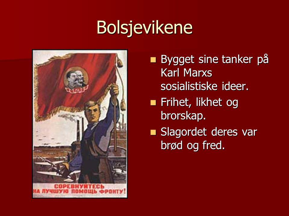 Bolsjevikene  Bygget sine tanker på Karl Marxs sosialistiske ideer.  Frihet, likhet og brorskap.  Slagordet deres var brød og fred.